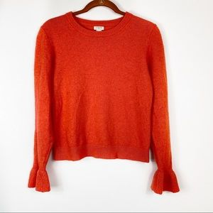 J. Crew Factory Ruffle Cuff Crewneck Sweater G9861